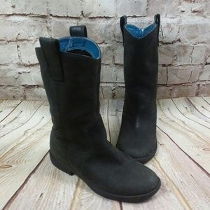 Kenneth Cole black vintage leather cowgirl boots 6